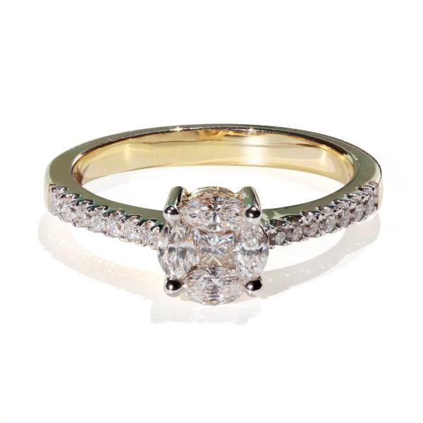 Afholte 0,56ct Diamant ring, 750 gult guld DJ-87