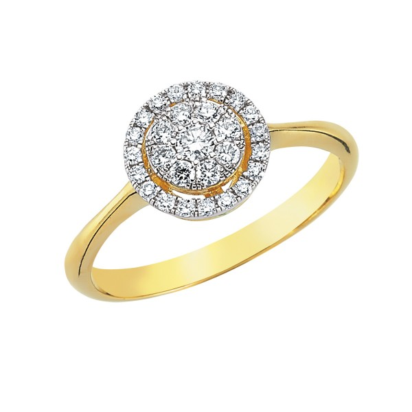 Populære 0,32ctw Diamant ring, 750 gult guld PO-51
